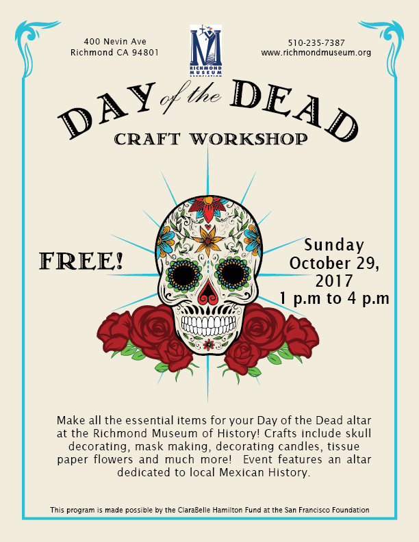 Dia de los muertos workshop food emporium richmond museum of history make all the essential items for your day of the dead altar including faux sugar skulls masks tissue paper flowers much more mightylinksfo