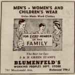 Blumenfeld's: Jewish Owned Business Ad, 1947