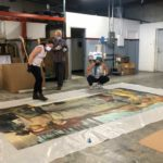FACL Conservators Virginia and Oriana Inspecting Mural (May 2020)
